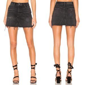 GRLFRND Eva Faded Black Denim Button Fly Skirt 29